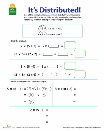 Printables Distributive Property Worksheet 5th Grade properties of multiplication distributive pinterest other worksheets distributive