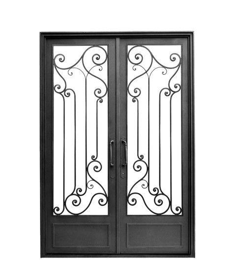 Puerta doble hoja recta puertas de hierro pinterest for Disenos de puertas de hierro