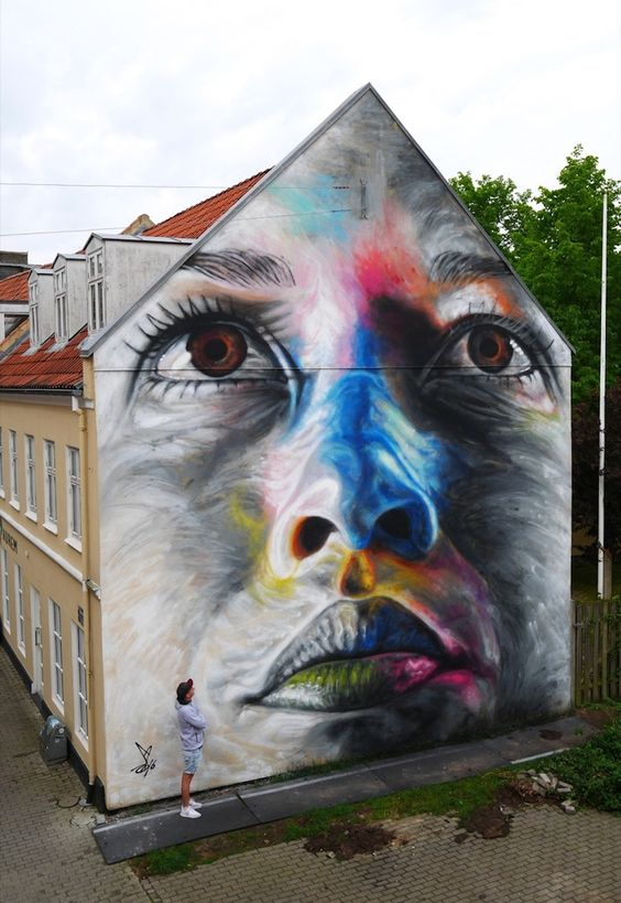New Colorful Mural by Street Artist David Walker in Aalborg // Denmark