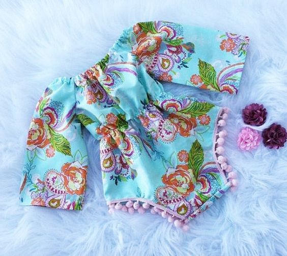 Floral Paisley Pom Romper Ready To Ship by TheRosieMarketplace