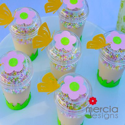 Pudding cup with embellishments