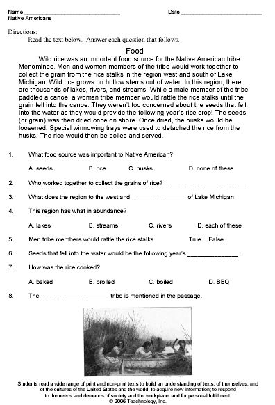 Worksheets Reading Theme Worksheets native americans theme worksheet sample fifth grade pinterest sample