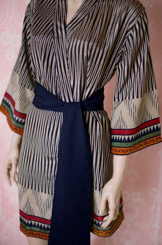 Hunter. One ready to ship robe. Faux silk crepe robe in khaki and navy blue. Faux silk kimono. Medium.