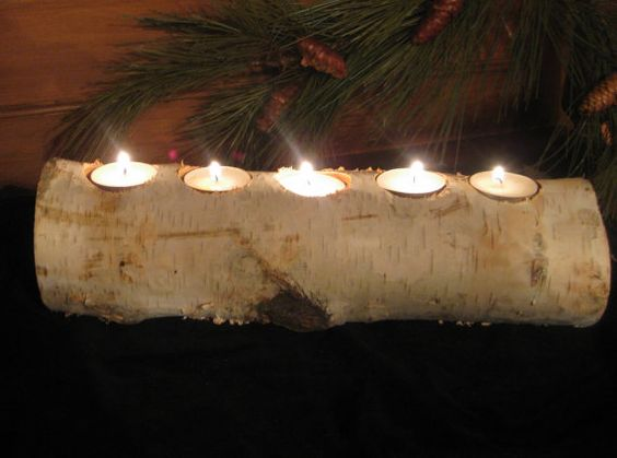 Birch Log Tea Light Candle Holder   Wedding  Home by MyGardenGate, $12.99