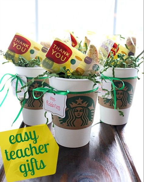 Easy teacher gifts -- biscotti + gift card in empty starbucks cup w/ sleeve (reusable cup?)
