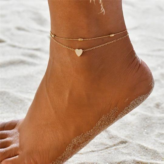 Wolfleague Boho Bracelet De Cheville Pour Femmes Filles Shell Beach Perl/é Cheville Pied Cha/îNe R/éGlable D/éT/é Bijoux