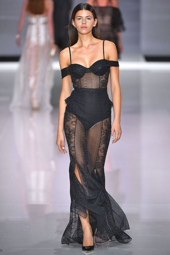 Lovely black sheer lace gown with slashed hem - perfect for those special occasions #alldressedup...x
