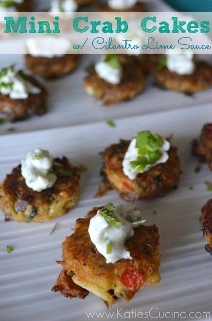 Mini Crab Cakes w/ Cilantro Lime Sauce + HUGE Giveaway | Recipe ...