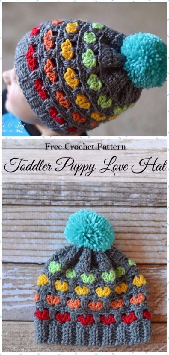 Crochet Toddler Puppy Love Hat Free Pattern - Crochet Beanie Hat Free Patterns
