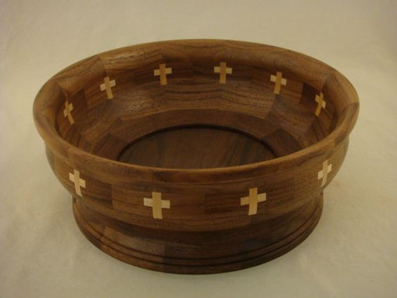 Hand made Segmented Bowl Walnut with 12 Maple by BOBSCUSTOMBOWLS