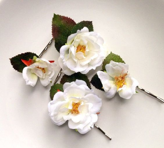 White rose bridal hair pins, white rose wedding hair pins by HollyHoopsArt, $30.00