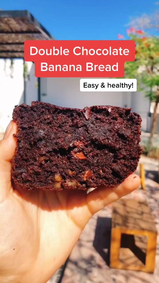 Tag A Friend Who D Love This Double Chocolate Banana Bread Inspired By Rebeccaaleigh Banana Healthy Sweets Recipes Fun Baking Recipes Food Videos Desserts