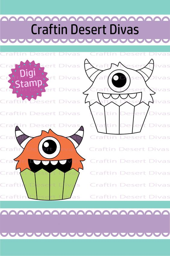 Cupcake Cutie One Eye Monster Digital Stamp - Craftin Desert Divas