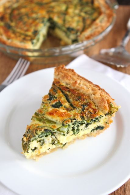 Asparagus, Spinach and Feta Quiche via www.twopeasandtheirpod.com