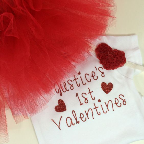 Red Tutu, Valentine Outfit, Tutu set Personalized Onesie, Baby's First Valentines, Baby Shower Gift, Red Heart Bow Headband by babyboos on Etsy
