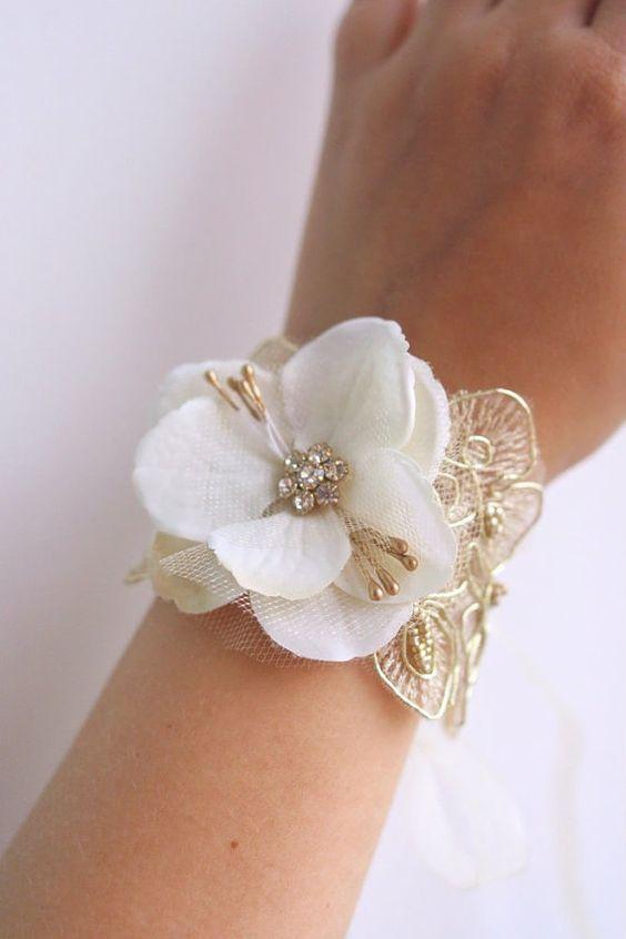 Ivory Flower Wrist Corsage Wedding Floral Bracelet by BelleBlooms: