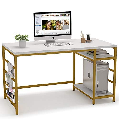 Tribesigns Computer Desk With Storage Shelves 55 Inch Large Computer Table Study Writing Desk With Tow In 2020 Modern Home Office Desk Large Office Desk Desk Storage