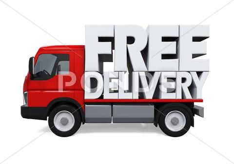 Delivery Van With Free Delivery Text Graphic 64310669 With