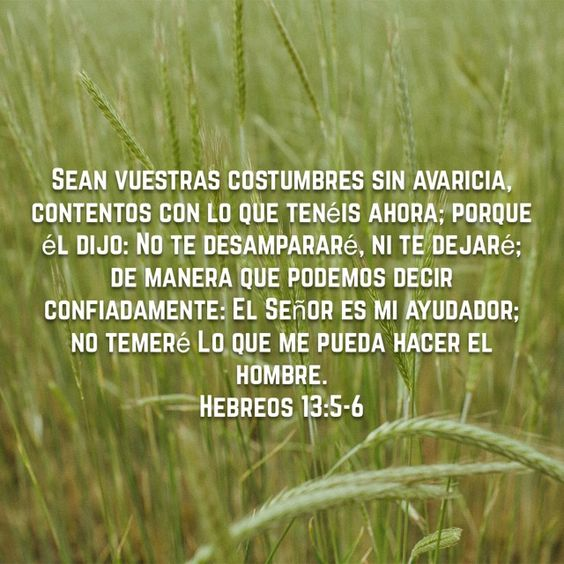 5 Sean vuestras costumbres sin avaricia, contentos con lo que tenéis ahora; porque él dijo: No te desampararé, ni te dejaré;  6 de manera que podemos decir confiadamente:     El Señor es mi ayudador; no temeré     Lo que me pueda hacer el hombre.