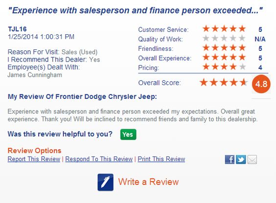 Thank you!  Read what our customers are saying http://frontierdodge.com/section/secondary/testimonials/Lubbock-TX-Dodge-Chrysler-Jeep-RAM-Dealer