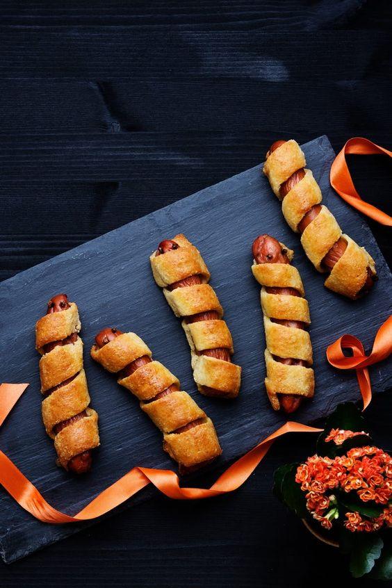 Keto mummy dogs - Todaywedate.com low carb/low carb  snacks/keto treats/ keto halloween/keto treats for halloween/low carb dessert/ keto snacks/keto dessert for halloween/keto recipes for halloween/Easy keto recipes/keto chocolate/halloween food/creepy halloween food/spooky treats/halloween party food/halloween party ideas/