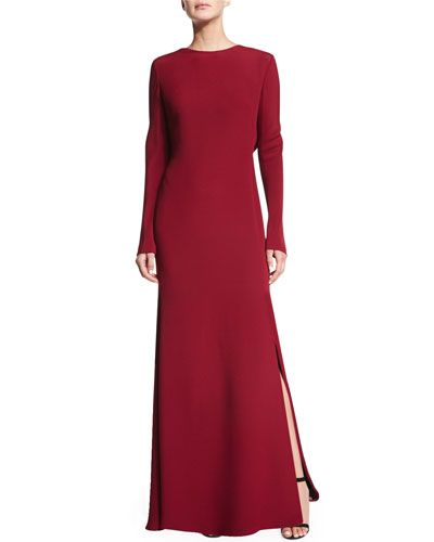 Escada Long-Sleeve Cowl-Back Gown, Vermillion. Neiman Marcus...