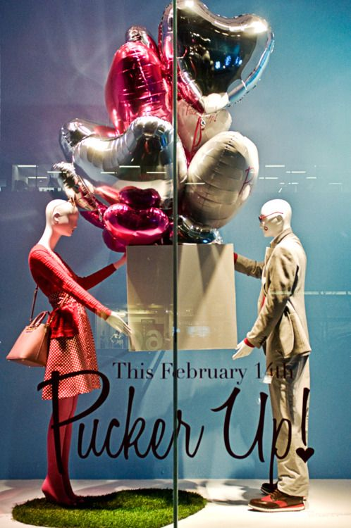 Unique and budget friendly way to celebrate Valentine's day - balloons, signage and the right mannequins: