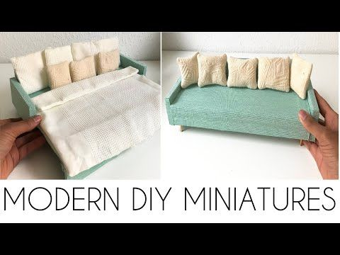 Diy Miniature Convertable Sofa Bed Youtube In 2020 Diy Sofa Bed Barbie Furniture Diy Sofa