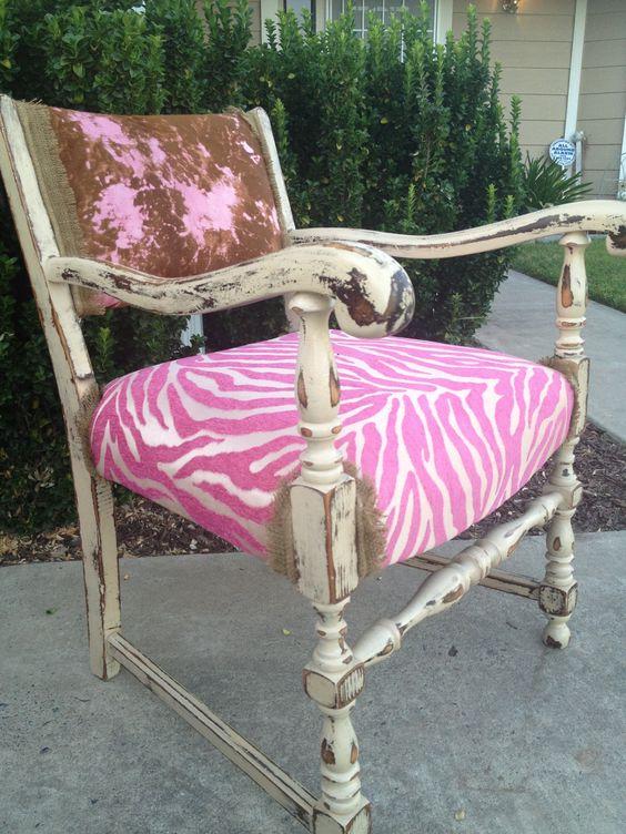 Pink acid wash cowhide chair