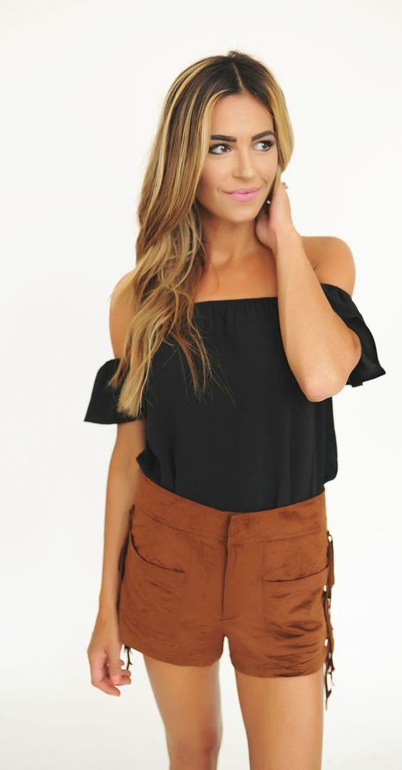 Black Short Sleeve Off The Shoulder Top - Dottie Couture Boutique