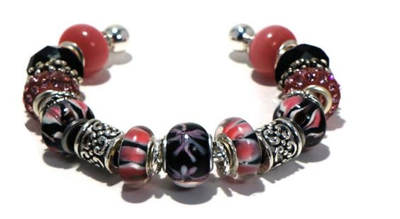 Pink Black Bracelet Cuff with Large Hole Beads by BrankletsNBling, $30.00