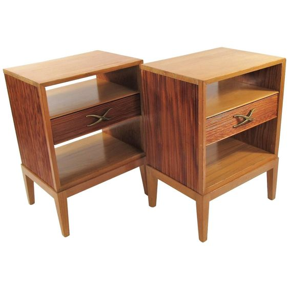 Pair of Brown Saltman Nightstands Designed by Paul Frankl 1