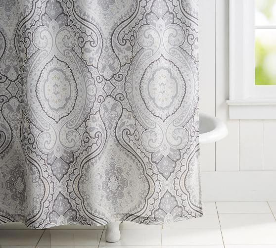 Beale Paisley Print Shower Curtain Pottery Barn Blackoutcurtainsforlightsleepers Pottery Barn Shower Curtain Patterned Shower Curtain Curtains