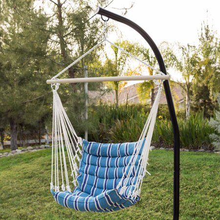 Best Choice Products Indoor Outdoor Padded Cotton Hammock Hanging Chair W 40in Spreader Bar Blue Walmart Com Hammock Chair Hammock Chair Stand Hanging Chair