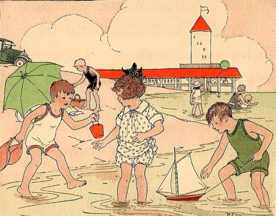 Vintage Beach... Sand pails and sail boats.