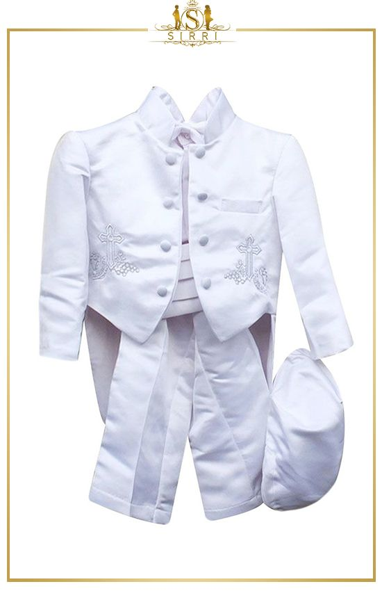 NEW INFANT BOY CHRISTENING BAPTISM GOWN SUIT NEW BORN TO 24 MONTHS WHITE
