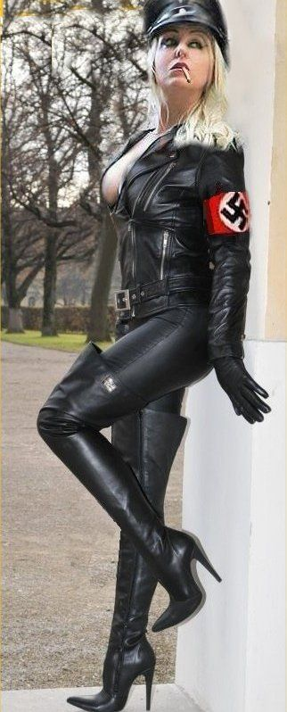 Girl in leather gloves and leather coat 7