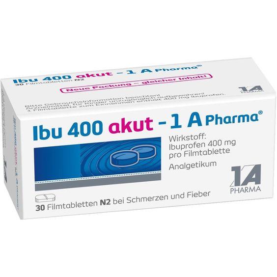 IBU 400 akut Ibuprofen 1A Pharma Filmtabletten gegen Schmerzen:   Packungsinhalt: 30 St Filmtabletten PZN: 07754334 Hersteller: 1 A…