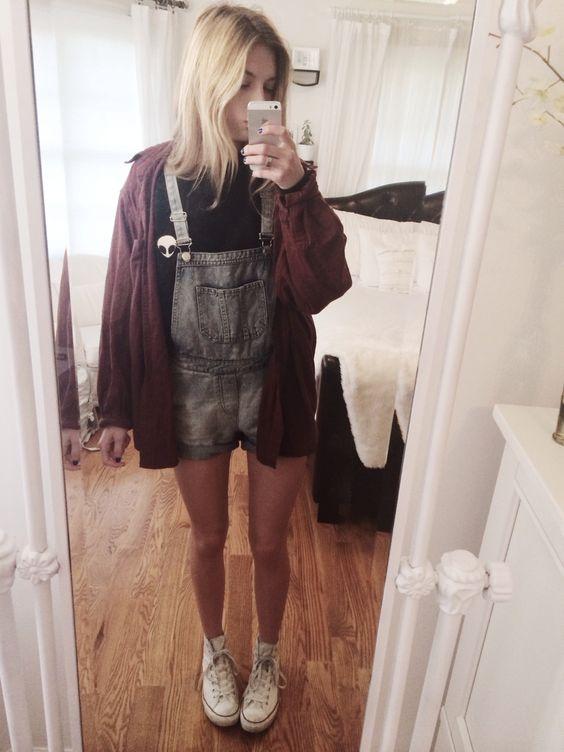 - Brandy Melville Alien Sweatshirt + Flannel, Topshop overalls, Converse ♥️: