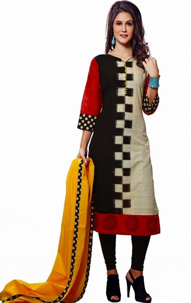 Picture of Ethereal Off White, Red and Black Color Ready Made Salwar Kameez