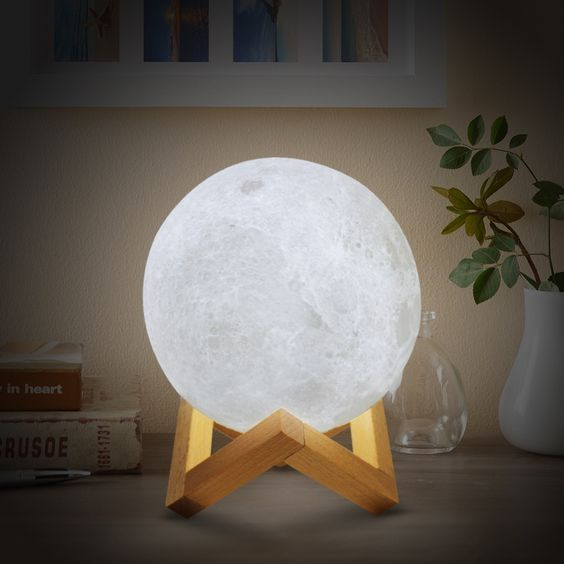Modern Lighting 3d Moon Night Light Lamp Meet Luna The Moon Lamp That Has Taken Over The Internet Only Sold At Cozyde Night Light Lamp Led Night Lamp Decor