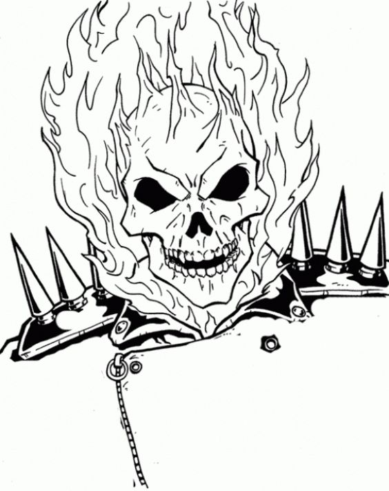 The Burning Face Of Ghost Rider Coloring Page ...