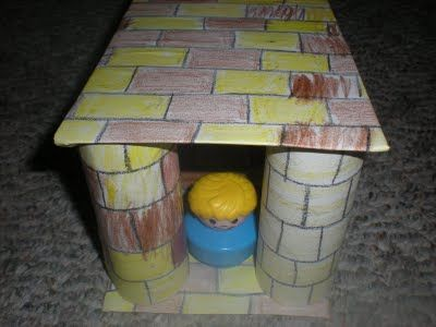 Samson - Make a temple using four toilet paper rolls, two pieces of cardboard and paper. First, draw the bricks & have the kids color each square. Next cut and glue each piece on. Put it all together using little people for characters. You could use paper towel rolls and use bigger toys if your characters are larger. Samson knock the pillars down.: