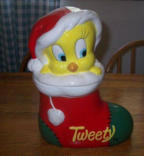 Tweety Bird Christmas Cookie Jar made in China by Certified International