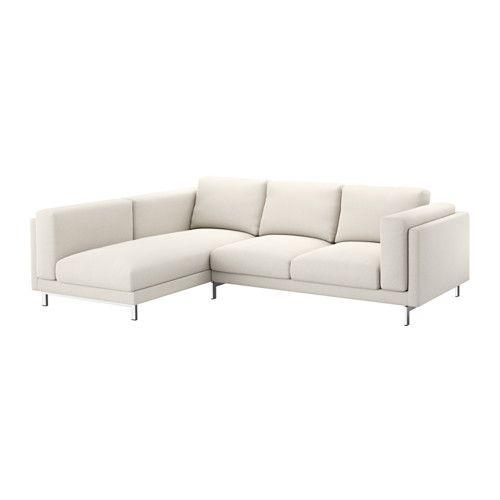 NOCKEBY Sofá 2 lugares c/chaise longue, esq - esquerda/Tallmyra bege claro, cromado - IKEA