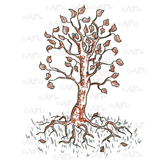 Digital download landscape tree floral drawing gray brown personal and small commertial use