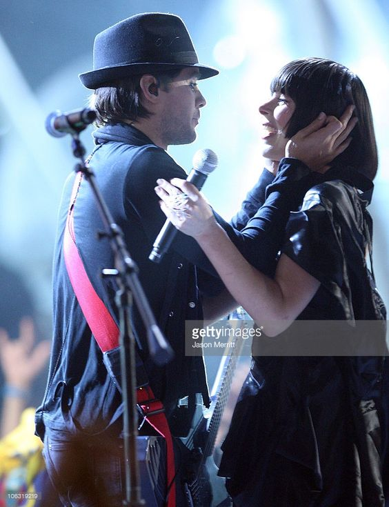 Musician Jared Leto from 30 Seconds to Mars and singer Ely Guerra perform during the Los Premios MTV Latin America 2007 at the Palacio de los Deportes on October 18, 2007 in Mexico City, Mexico.