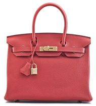 A 30CM ROUGE PIVOINE CLEMENCE LEATHER BIRKIN BAG