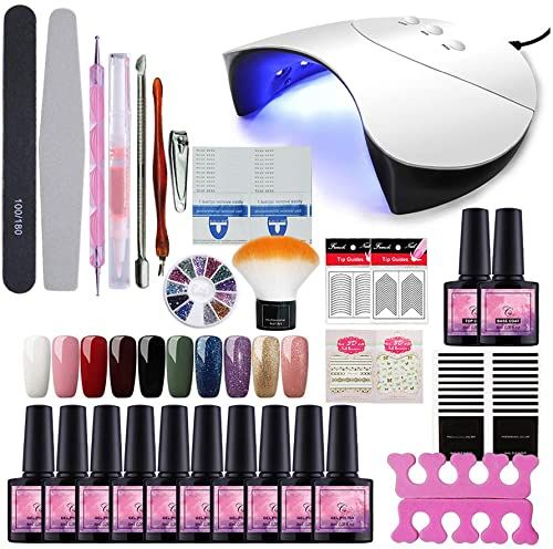 Buy Fashion Zone 10 Colors Soak Off Gel Polish Starter Kit 36w Led Uv Nail Dryer Curing Lamp Manicure Nail Tool Online Wouldtopshopping In 2020 Uv Nails Gel Polish Nail Polish Kits
