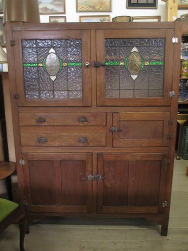 Find best value and selection for your Antique Stained Glass Leadlight  Meatsafe Cupboard Cabinet Kitchen Dresser Rustic search on